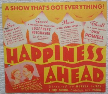 Happiness Ahead, Flyer/Herald, Dick Powell, Josephine Hutchison, '34